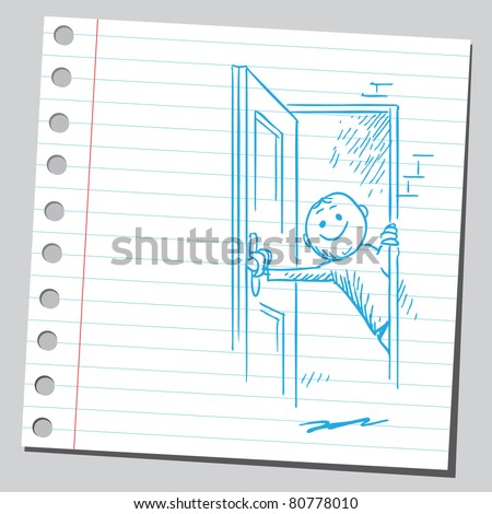Drawing of a man opening the door