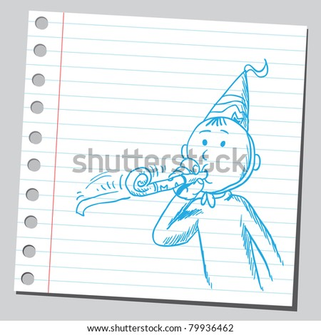 "Drawing of a man with ""party whistle"""