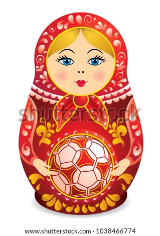 drawing of a matryoshka in red