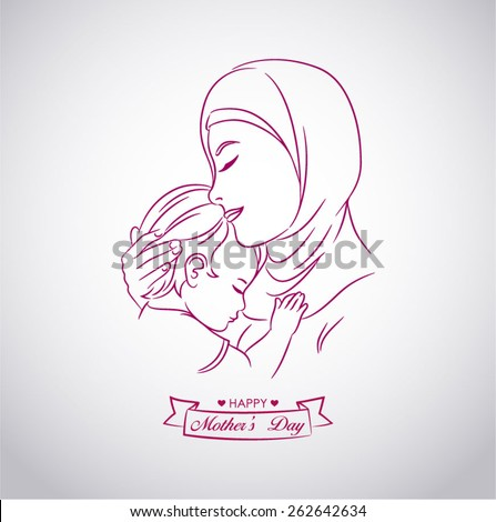 Drawing of a mother Middle East with demonstration of affection for his son
