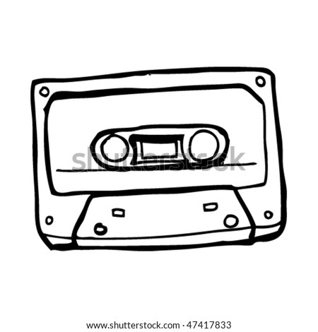 drawing of a retro cassette tape