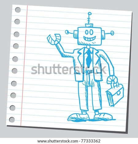 Drawing of a robot businessman