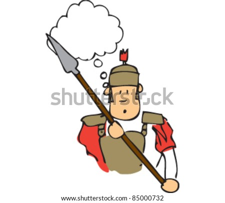 Drawing of a roman soldier with a speech bubble