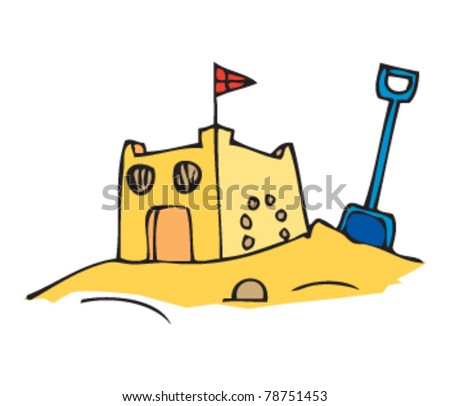 drawing of a sandcastle
