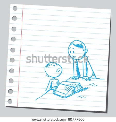 Drawing of a teacher and student