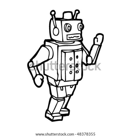 drawing of a toy robot Vintage Robot Drawing