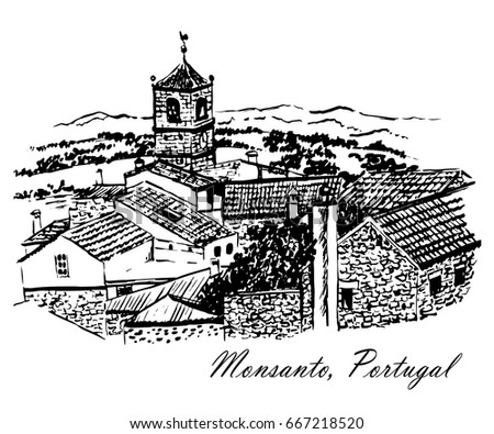 Drawing of a view of the Town Hall with a clock in the amazing village of Monsanto, Portugal, a sketch of hand-drawn ink graphic vector illustration