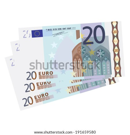 drawing of a 3x 20 euro bills