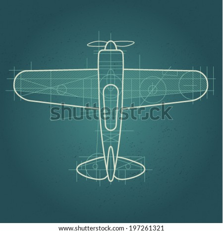 Drawing of airplane on blue background draft drawing plan plot