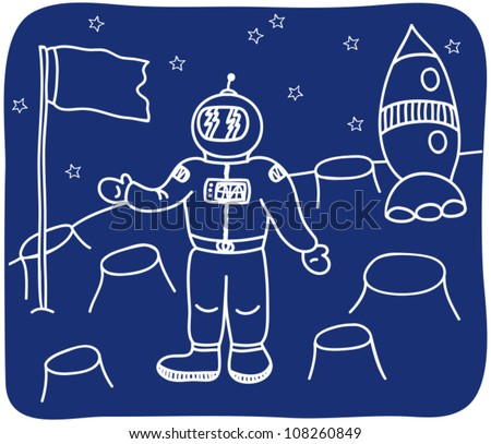 Drawing of an astronaut on the planet - illustration