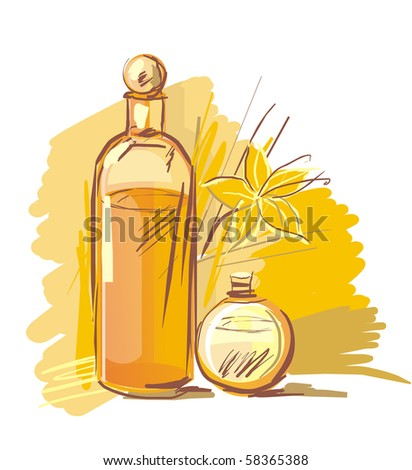 Drawing of aromatic preparations and flower