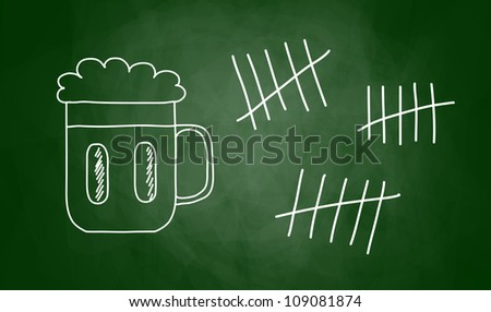 Drawing of beer on blackboard
