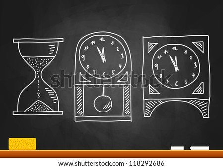Drawing of clocks on blackboard