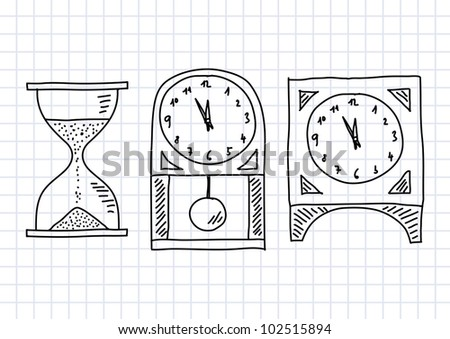 Drawing of clocks on squared paper