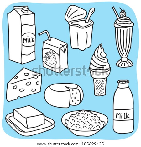 Drawing Of Diary And Milk Products - Hand-Drawn ...