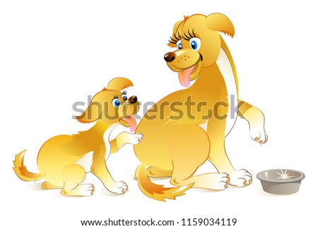 Drawing of dog and little puppy asking to eat. Illustration for children book. Vector cartoon image.