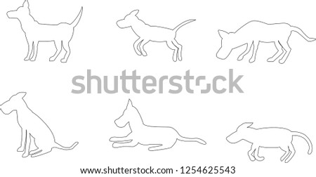 drawing of dog in multiple positions in a white background with thin stroke ideal to make animations
