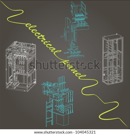 drawing of electrical panel at a assembly line factory