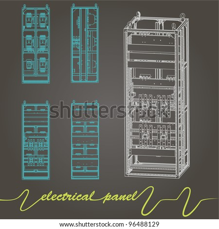 drawing of electrical panel at a assembly line factory. controls and switches.