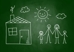Drawing of family and house on blackboard