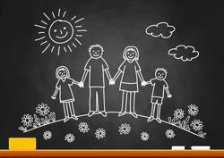 Drawing of family on blackboard