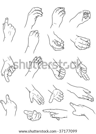 drawing of hands doing various things