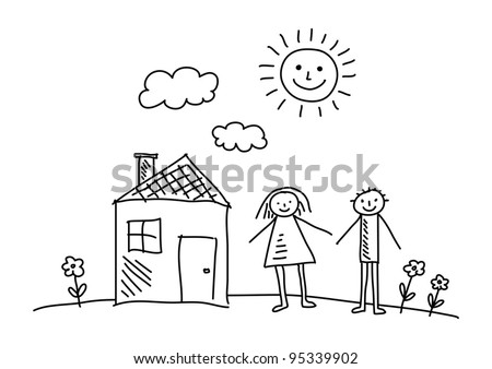 Drawing of house and children