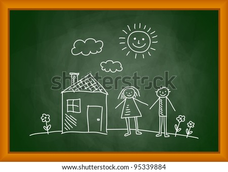 Drawing of house and children on blackboard