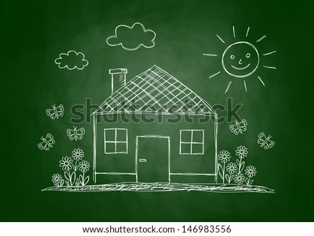 Drawing of house on blackboard