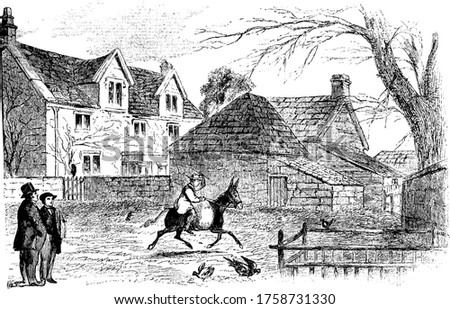 Drawing of Jacob Pocock Farm-house during civil war, where a person riding on a mule., vintage line drawing or engraving illustration.