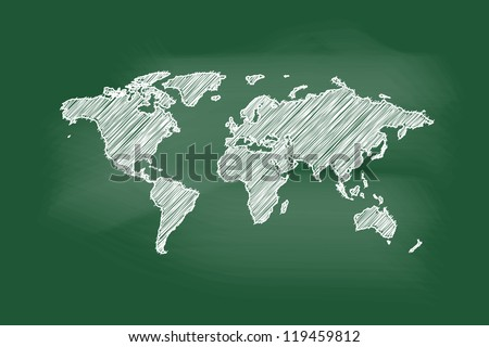 Drawing of map on blackboard