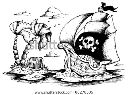 Drawing of pirate ship 1 vector illustration