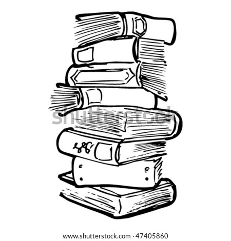 drawing of stacked books - stock vector