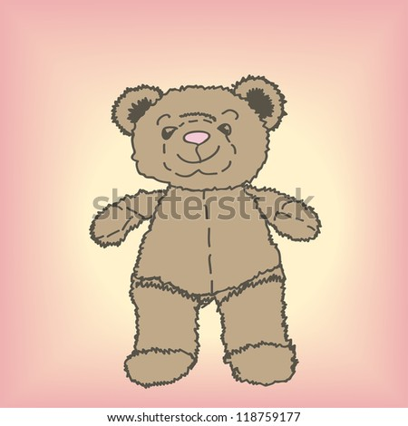 Drawing of Teddy bear with pink background
