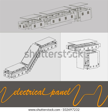 drawing of the connections of electrical panels in the factory