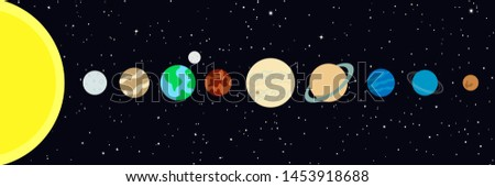 Drawing of the eight planets of our solar system and the dwarf planet Pluto, vector illustration
