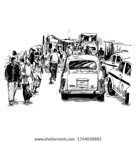 Drawing of the traffic at local market in India