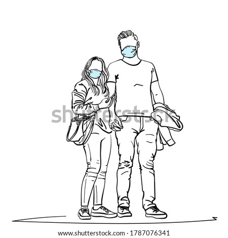 drawing of young couple wearing