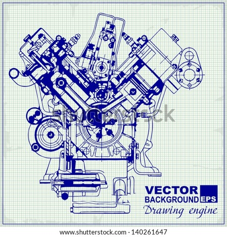 drawing old engine on graph paper  vector background  #140261647