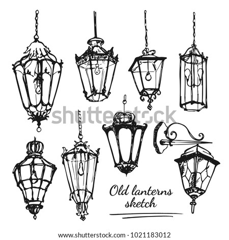 Drawing old lanterns on the white background. Sketch of different street retro lamps.