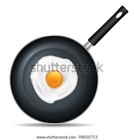 Drawing on the frying pan with a white background - stock vector