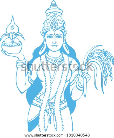 drawing or sketch of goddess
