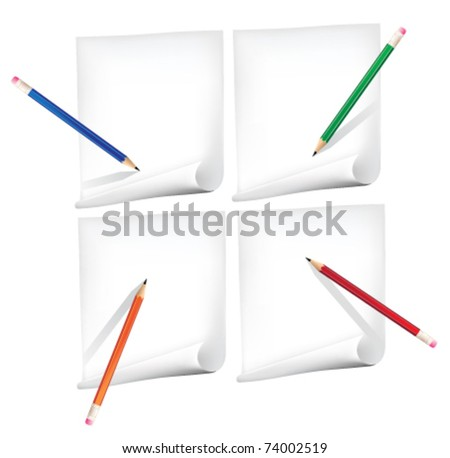 Drawing pencil on paper in different positions