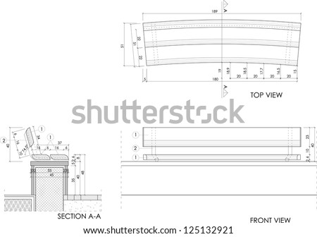 Drawing Plans Of A Park Bench Stock Vector 125132921 : Shutterstock