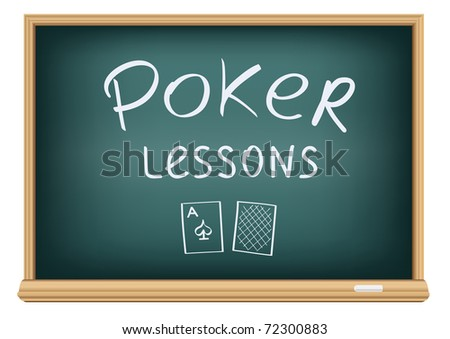Drawing poker lessons by a chalk on the classroom blackboard