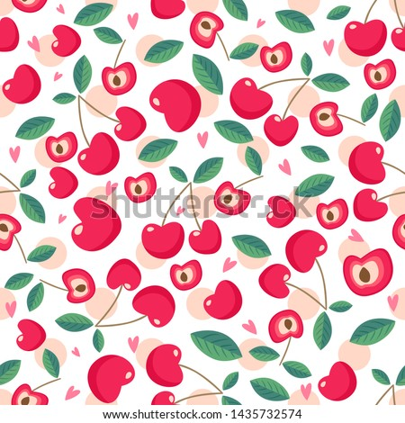 Drawing red cherry seamless pattern background wallpaper. Cute red seamless pattern with cherries. Seamless pattern. Vector seamless pattern with cherry berries. Cherry background.