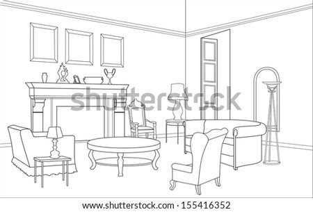 drawing room editable vector
