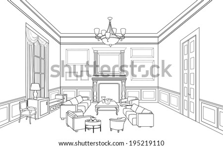 Room Outline Drawing Drawing-room
