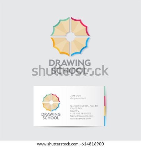 Drawing school logo and identity. Creativity emblems. Multicolored pencil shavings as a flower with business card.