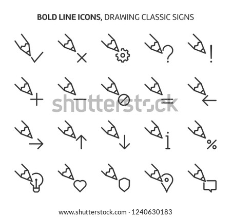 Drawing signs, bold line icons. The illustrations are a vector, editable stroke, 48x48 pixel perfect files. Crafted with precision and eye for quality.